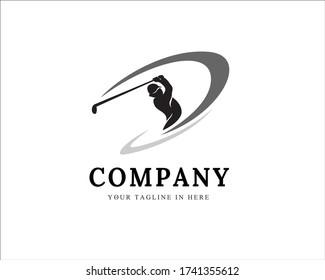 Player swing stick golf logo design inspiration