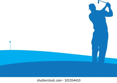 Player swings in Golf Tournament
