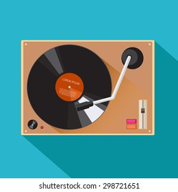 Player for vinyl record. Music flat vector illustration.