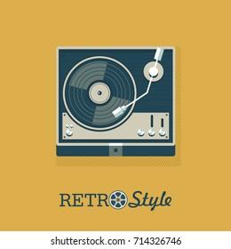 Player for vinyl records. Logo, emblem. Vector illustration.
