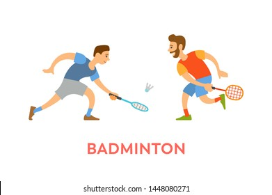 Players of badminton vector, men wearing summer clothes holding rackets hitting ball isolated characters in sportive mood. Competitors on tournament