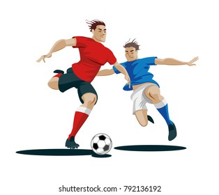 Players are fighting for the ball. Vector Illustration