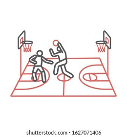 Players play basketball line icons. Vector signs for web graphics.