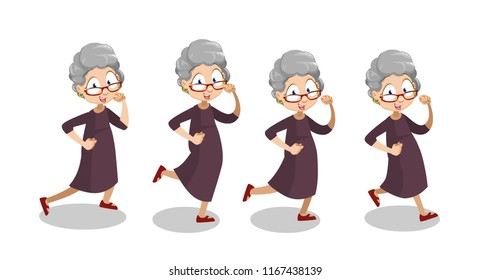 Playful aged woman wearing glasses running. Grey haired funny granny animation set. Cute smiling elderly woman having fun personage. Active lifestyle at retirement isolated vector illustration