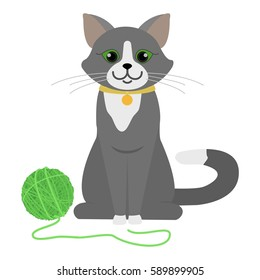 Playful cat sitting on floor. Cartoon character. Domestic animal. Flat vector stock illustration