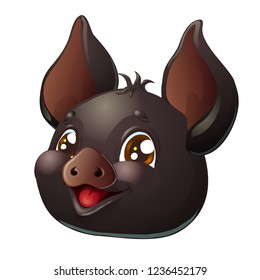 The playful cheerful black pig head with brown eyes. A cartoon vector illustration isolated on white.