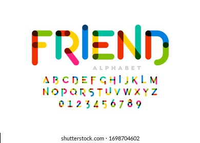 Playful childrens style colorful font design, alphabet letters and numbers, vector illustration