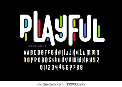 Playful colorful font design, childish alphabet letters and numbers vector illustration