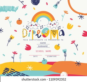 Playful Diploma template for kids.Vector illustration.
