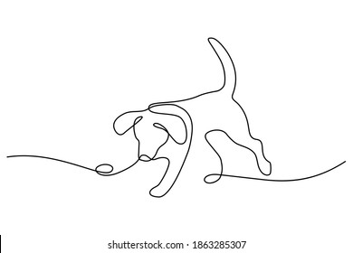 Playful dog in continuous line art drawing style. Puppy playing minimalist black linear sketch isolated on white background. Vector illustration