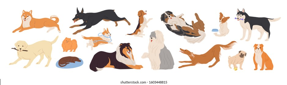 Playful dogs flat vector illustrations set. Different breed friendly puppies isolated on white background. Funny domestic pets, cute cheerful animals, joyful doggies collection. Happy dogs pack.