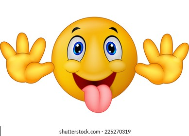 Playful emoticon smiley jokingly stuck out its tongue