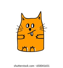 Playful funny orange cat with its tongue hanging out. Vector illustration.