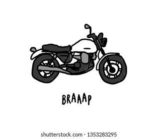 Playful hand drawn motorcycle illustration