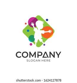playful kid logo design, modern children education and childcare logo template