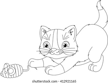 playful kitten coloring page 260nw