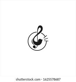 Playful music logo design element with Chord and singing bird silhouette template idea