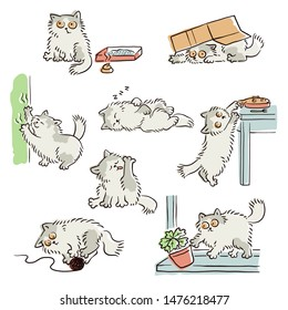Playful naughty cat stealing food, scratching furniture and other funny scenes, sketch vector illustrations set isolated on white background. Pets and animal's bad behavior.