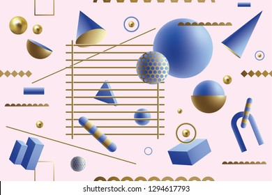 Playful seamless pattern with blue and gold 3D geometric shapes floating on a pink background