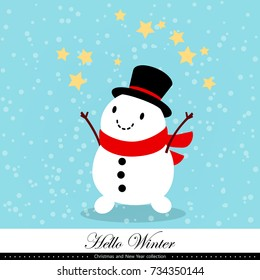 Playful snowman. Winter, Christmas and New Year illustration. Element of the collection. Good for congratulation card, banner, flyer, leaflet, poster. Vector illustration