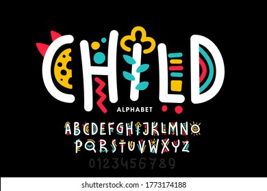 Playful style font design, childish alphabet letters and numbers vector illustration