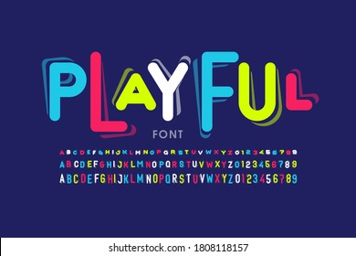 Playful style font design, childish letters and numbers vector illustration