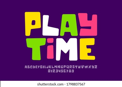 Playful style font design, playtime childish alphabet letters and numbers vector illustration