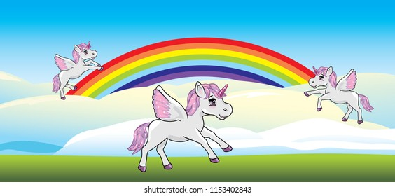Playful unicorns on a rainbow. Vector
