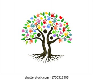 Playful and vibrant family tree logo design, human tree concept,vector illustration.