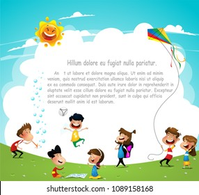 Playground. Children having fun. Template for advertising brochure. Ready for your message. Vector cartoon illustration