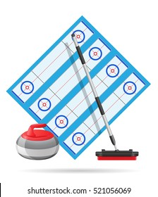 playground for curling sport game vector illustration isolated on white background
