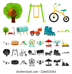 Playground, entertainment cartoon, black icons in set collection for design. Attraction and equipment vector symbol stock web illustration.