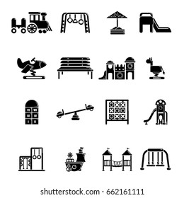 Playground equipment icons set. Simple illustration of 16 playground equipment vector icons for web