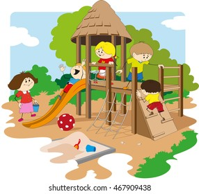 Playground full of children