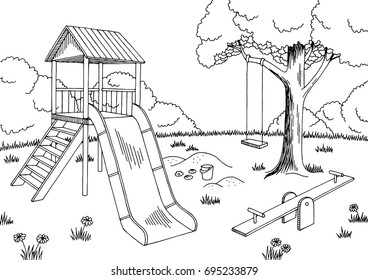 Playground graphic black white landscape sketch illustration vector