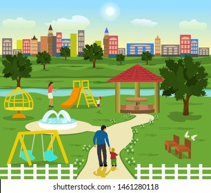 The playground has streams and trees. Family to relax .Children are playing There is a building and blue sky in the background.