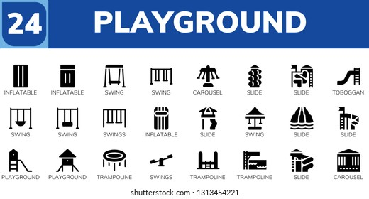 playground icon set. 24 filled playground icons.  Simple modern icons about  - Inflatable, Swing, Carousel, Slide, Toboggan, Swings, Playground, Trampoline