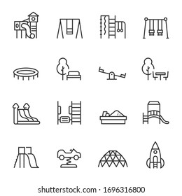 Playground, icon set. Play area for children outdoors, linear icons. Line with editable stroke