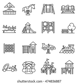 playground icons set.  collection. Thin line design