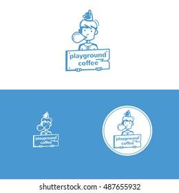 Playground kids coffee character sign logo