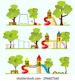 Playground, kids playground, playground park, school playground, children's playground, kindergarten playground with swings, slide, sandpit, Playground in summer park. Vector illustration