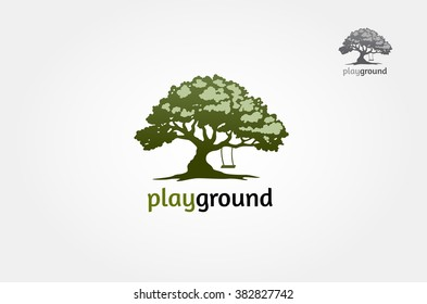 Playground Logo Template. tree with a child play the swing under the tree, this logo symbolize a protection, peace,tranquility, growth, and care or concern to development, vector logo illustration