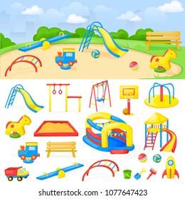 Playground park cartoon vector fun play kid kindergarten illustration child outdoor equipment. Childhood leisure summer playful recreation ground baby amusement.