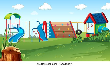 Playground park scene with equipment illustration