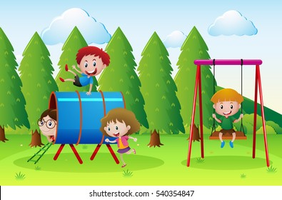 Playground scene with lots of kids illustration