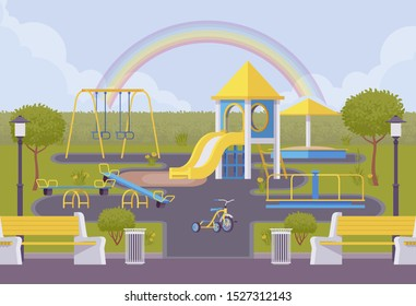 Playground set, outdoor area decor ideas, playing equipment with slides and swings, attraction, recreation kid fun, bright zone provided for children to play in. Vector flat style cartoon illustration