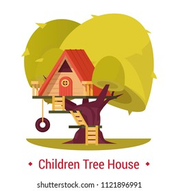 Playground shelter for children. Tree-house with fence for kids on tree with ladder. Kinder hut for outdoor activity or recreation, leisure. Summer building for playing. Architecture theme