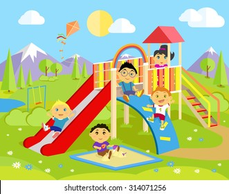 Playground with slide and children. Park play kid, outdoor childhood, equipment and ladder, happiness and recreational, nature and leisure, recreation and summer illustration