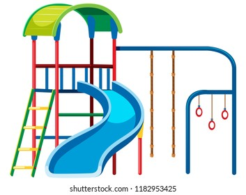 Playground slide set on white background illustration