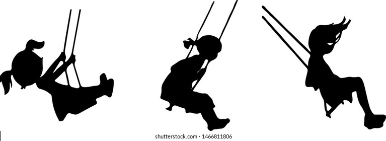 Playground swings and child icon on white background